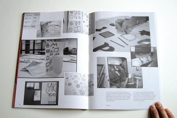 Double page du catalogue, reportage photographique du workshop par Nathan Latour-Novo (photo © Sarah Fouquet)