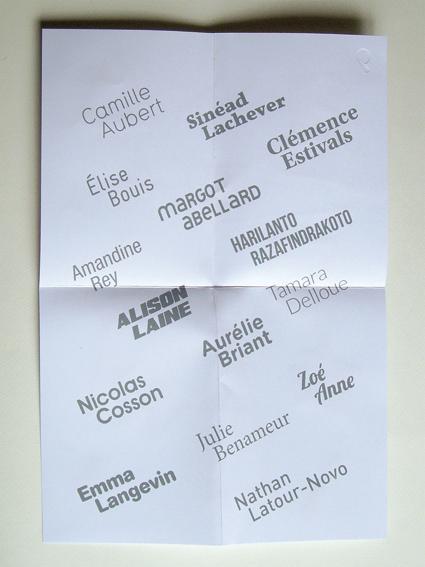 Verso de la couverture-affiche du catalogue imprimée en sérigraphie dans les ateliers de l'ésam (photo © Sarah Fouquet)