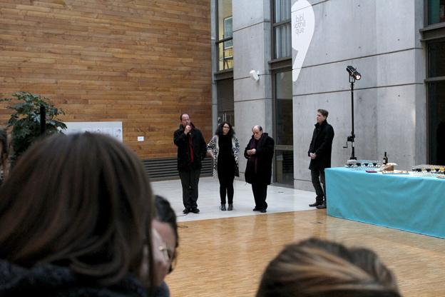 Discours d'ouverture avec de gauchae à droite Éric Lengereau (directeur de l'école), Sarah Fouquet, Walther Fekl et Thibaut Soulcié