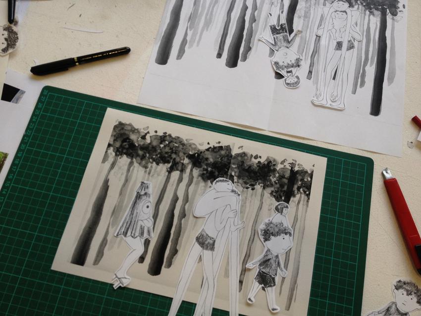 travail en cours de réalisation de Sabine Troisvallets.