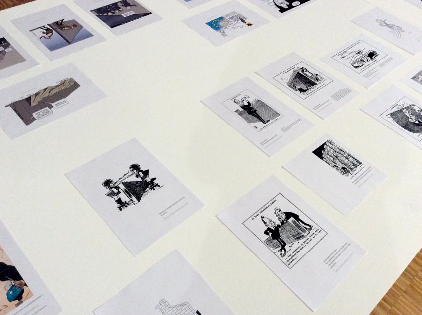 """Détails des dessins de presse de l'exposition """"Cent Murs Sans Murs"""" © Sarah Fouquet"""