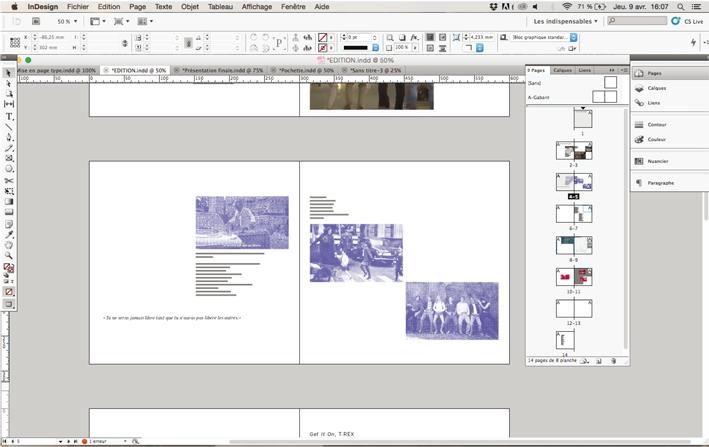 """Recherches de mise en page des archives en lien avec l'œuvre """"Sonnenallee"""" © Anaïs Allias et Alexandra"""