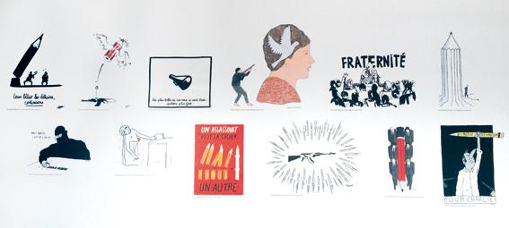 Détail des dessins des écoles d'art © Sarah Fouquet