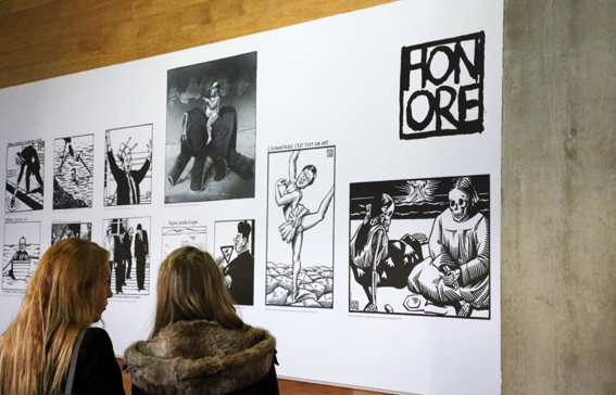 Panneau des dessins d'Honoré © photo d'Anthony Deperraz