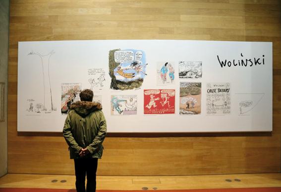 Panneau présentant les dessins de Wolinsky © photo d'Anthony Deperraz