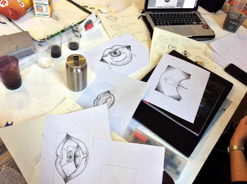 Durant le workshop. Illustrations de Tiffany Flecher-Moreau. Photo © Sarah Fouquet