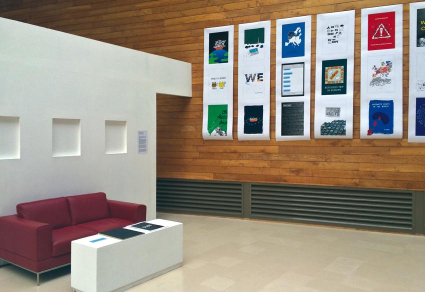 Vue de l'exposition des affiches des étudiants de Cambrai et de Caen, photo © Sarah Fouquet