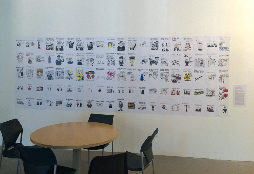 Vue de l'exposition des dessins de Biche, photo © Sarah Fouquet